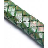 11 x 7 мм, Зеленый| Плетеный плоский кожаный шнур | (SKY Австрия)