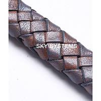 11 x 7 мм, Баклажан | Плетеный плоский кожаный шнур | (SKY Австрия)