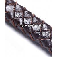 11 x 7 мм, Темно-Коричневый | Плетеный плоский кожаный шнур | (SKY Австрия)