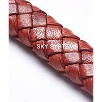 11 x 7 мм, Коричневый | Плетеный плоский кожаный шнур | (SKY Австрия)