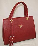 Каркасная женская сумка Prada (Прада) из гладкого кожзама красного цвета