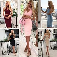 Модный женский костюм с чокером в расцветках / Украина / джинс