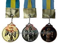 Медаль спортивная/для бокса: 1, 2, 3 место, Ø 5 см, с украинской ленточкой