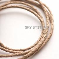 Кожаный плетеный шнур   3,0 мм, Натуральный (Некрашеный)