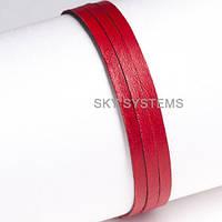 Кожаная тесьма   5,0 х 1,0 мм, Цвет: Красный