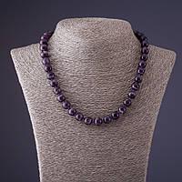 Бусы камень Аметист фиолетовый шеврон шарик d-10мм L-45см