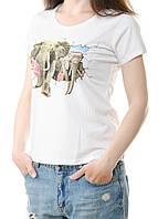 Футболка женская белая с рисунком Слоны