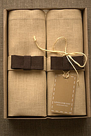 Набор 4 шт Салфетки лен коричневый бант