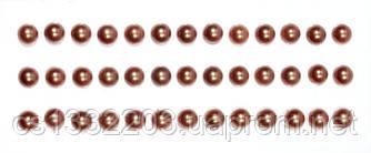 Полужемчужины коричневые (клеевые) 39 шт, 6 мм