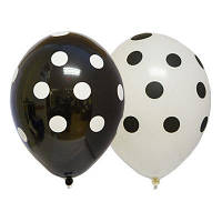 """Воздушные шары Горошек бело чёрный 14"""" (35 см), 25 штук в упаковке Belbal Бельгия"""