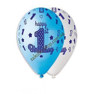 Латексные воздушные шары Gemar Италия, расцветка: Пастель белый/голубой, 1 годик малыша Happy Birthday, печать