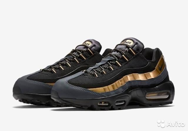 c8d1971f141 Кроссовки Мужские Nike Air Max 95 Black Gold (в Стиле Найк Аир Макс ...