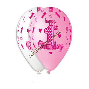 Латексные воздушные шары Gemar Италия, расцветка: Пастель белый/розовый, 1 годик девочки Happy Birthday, печат