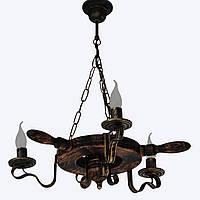 Люстра из дерева Колесо - Кольцо - Штурвал 3 ламп Старая Бронза, Дерево Состаренное темное