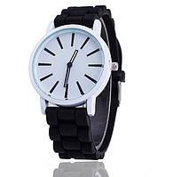 Силиконовые женские часы спортивные черные