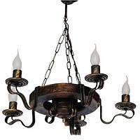 Люстра из дерева Колесо - Кольцо - Старое 5 ламп Старая Бронза, Дерево состаренное темное