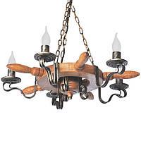Люстра из дерева Колесо - Кольцо - Штурвал 5 ламп Старая Бронза, Дуб светлый