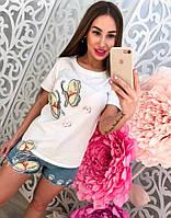 """Молодежный, женский, летний костюм футболка + джинсовые шорты, с вышивкой из пайеток """"Бабочки"""""""