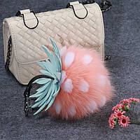 Брелок ананас из лисьего меха, размер 15 см, цвет розовый