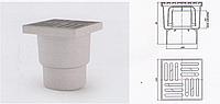 Трап вертикальный с нержавеющей решёткой 15*15 см