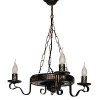 Люстра из дерева Колесо - Кольцо - Старое 3 лампы Старая Бронза, Дерево состаренное темное