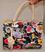 Каркасная женская сумка Michael Kors (Майкл Корс) с текстурой рептилии и цветочным принтом