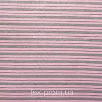 Трикотажное полотно интерлок хб пенье 40/1, серо-розовая полоска