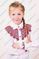 Школьная блуза для девочки с геометрической вышивкой, фото 1