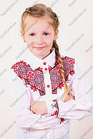 Школьная блуза для девочки с геометрической вышивкой