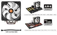Процессорный кулер Thermaltake Contac Silent 12 LGA1366/115x/775/FM2(+)/FM1/AM4/AM3(+) PWM, CL-P039-AL12BL-A