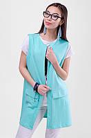 Женский стильный удлиненный жилет прямого кроя, карманы-обманки