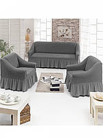 Чехол на 2-х местный диван + 2 кресла ТМ Juanna  серый