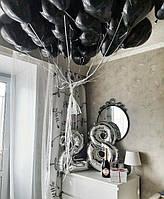 Композиция из черных гелиевых шариков - 28 лет