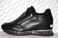 Кроссовки женские модные черного цвета на змейке