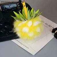 Брелок ананас из лисьего меха, размер 15 см, цвет желтый