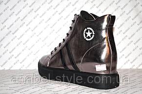 Кеды высокие серебристые на шнуровке , фото 3