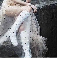 Бежевая прозрачная юбка в пол из итальянского тюля с кристаллами