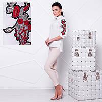Белая шифоновая блузка с вышивкой  М    Белый