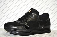 Кроссовочки из натуральной замши с кожаными вставками стильные женские черные