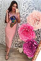 """Женское, летнее, силуэтное платье-миди с вышивкой и бисером """"Павлин"""" РАЗНЫЕ ЦВЕТА"""