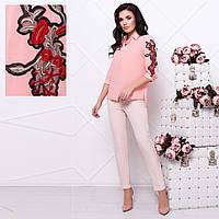 Розовая шифоновая блузка с вышивкой  М   Розовый