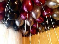 Облако из  гелиевых черных, золотых и цвета бургундии шаров (30 см.) Гелиевые шары Киев.Гелиевые шары Троещина