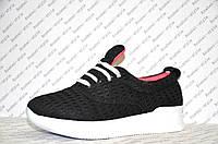 Кроссовочки текстильные на шнуровке женские черные