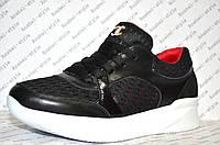 Кроссовочки текстильные со вставками кожи на шнуровке женские черные