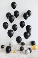 Облако из  гелиевых черных шаров (30 см.) Гелиевые черные шары. Гелиевые шары Киев.