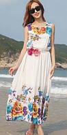 Летнее белое платье  с цветами РМ7050