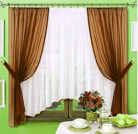 Комплект штор Джоанна Коричневый, кухонные, фото 2