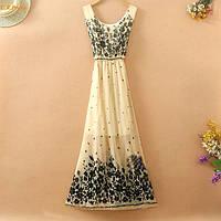 Летнее бежевое платье  с цветами РМ7051