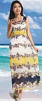 Летнее легкое платье  с цветами РМ7053
