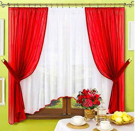 Комплект штор Джоанна Красный, кухонные, фото 2